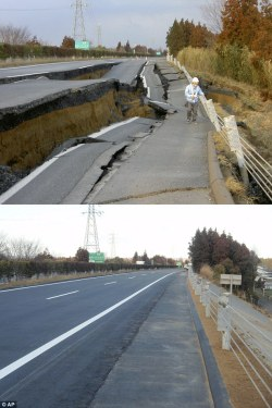 cheatsheet:   This stretch of the Great Kanto highway was wrecked by deep chasms in the March 11 earthquake - but was repaired in just six days  Amazing.