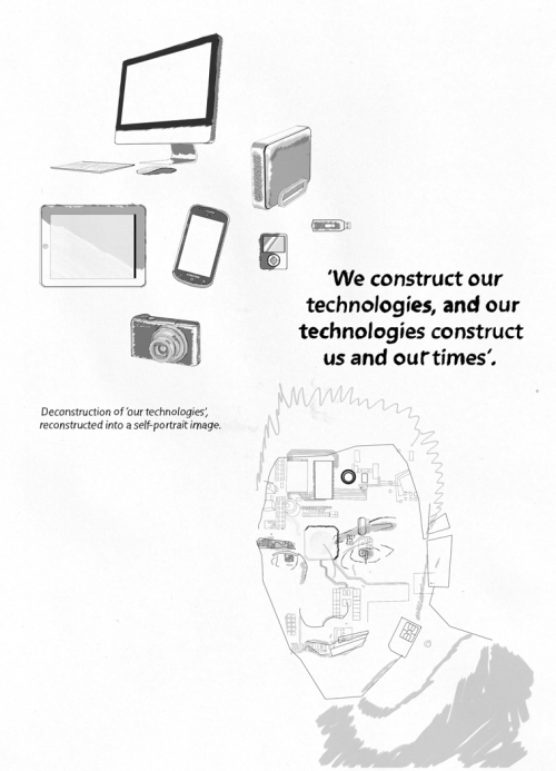 Sketches & ideas – Continued… Deconstruction of 'our technologies', reconstructed into a self-portrait image.