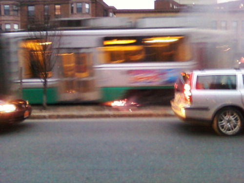 There's a metaphor in here somewhere. boston:  MBTA train drives over fire on tracks - A Green Line train drove over a small fire on the tracks Wednesday night on Beacon Street, according to a witness who snapped photographs of the incident.