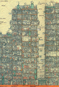 planetaryfolklore:  ripperdoc: Cross section of Kowloon Walled City, large version on click through.