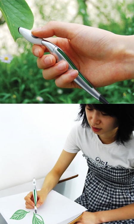 justlivejustlove:  Korean designer jinsu park designed a con­cept pen that adopts the  eye­drop­per tool of pho­to­shop for real life. The color picker pen  enables col­ors in the envi­ron­ment to be scanned and instantly used  for draw­ing. The sen­sor detects the color and matches it to the color  dis­play, then the RGB car­tridge located within the pen mixes the inks  together to cre­ate the color that has been scanned. (via Color Picker Pen by Jinsu Park » Design You Trust)