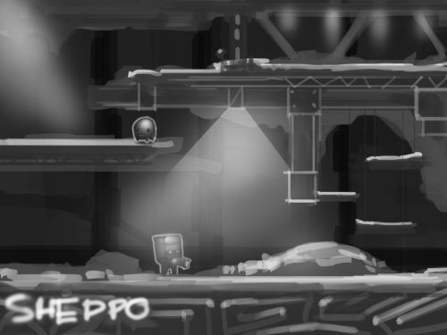 Environment sketch from the very beginning of project. At that time we still called it 'Sheddo' project.