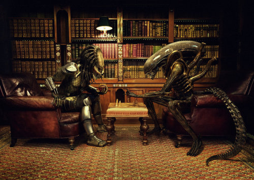 Alien v.s. Predator playing chess. doesn't get cooler than when playing a boring game.