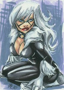 Black Cat sketchcard, 2.5x3.5 inches, ink & marker.