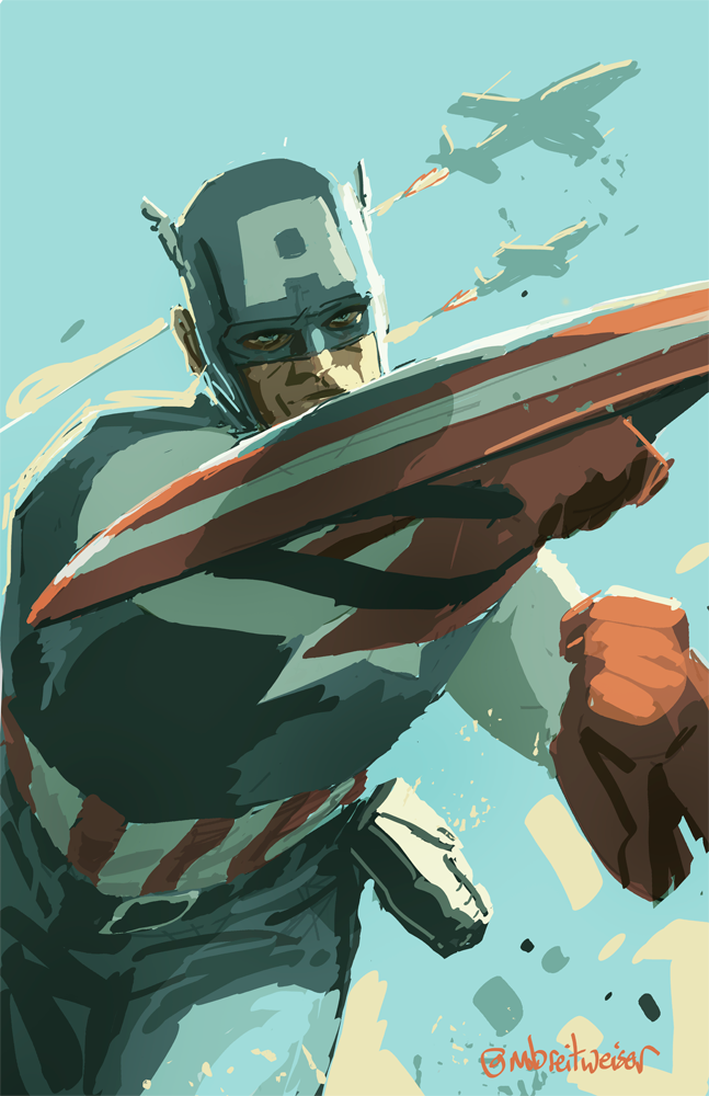 Continuation of yesterday's warm-up Cap paint sketch. Video coming later.