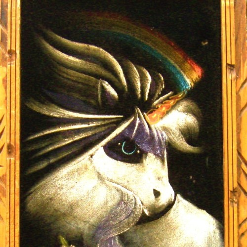 (via Vintage THE RAINBOW MAKER Black Velvet Unicorn by AstralBoutique)