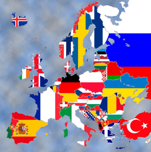 sanyukumiko:   eurohist:  This is a map of the current Europe, using flags.