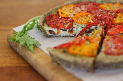 Raw Sun-dried Tomato, Basil and Olive Tart. From Uncooking 101.