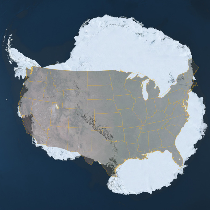 "Antarctica is the highest, driest, coldest, windiest and brightest of the seven continents. It is roughly the size of the United States and Mexico combined and is almost completely covered by a layer of ice that averages more than one mile in thickness, but is nearly three miles thick in places. This ice accumulated over millions of years through snowfall. Presently, the Antarctic ice sheet contains 90% of the ice on Earth and would raise sea levels worldwide by over 200 feet were it to melt. Learn more about Antarctica from the Landsat Image Mosaic of Antarctica (LIMA), ""the first-ever true-color high-resolution satellite view of the Antarctic continent enabling everyone to see Antarctica as it appears in real life."" Image description: An composite image comparing the geographic sizes of Antarctica and the United States."