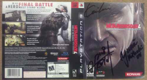 Auction: Signed Metal Gear Solid 4 InsertMaybe it was our goading that there was no Metal Gear Solid 4 representation in our endorsed auctions, but Stephen Kleckner saw fit to remedy that with an autographed MGS4 insert. We will assume, of course, that if you're bidding on this, you probably bought your copy on June 12, 2008.You are bidding on an unused, unfolded jewel case insert of the American version of Metal Gear Solid 4: Guns of the Patriots.This item is SIGNED by voice actress Yumi Kikuchi (Raging Raven), Metal Gear Solid 4′s senior producer Kenichiro Imaizumi and the Metal Gear Solid series head honcho HIDEO KOJIMA.Item and signatures were obtained during the Metal Gear Solid 4 launch event in San Francisco, CA. I personally met, shook hands and watched each individual sign this insert. Since then this cool piece of Metal Gear memorabilia has spent its life inside a padded envelope away from harmful natural elements, where procrastination has kept it from being framed and displayed.This auction ends March 31 at 02:00:43 PDT with all proceeds going to Global Giving.