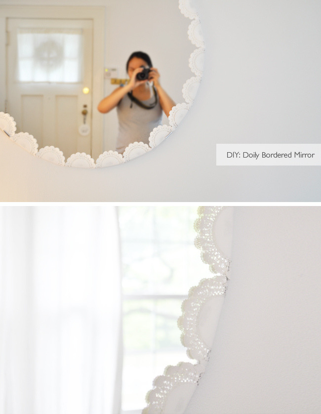 IKEA Mirror Revamp | Lifelix Looking through the rest of the Lifelix blog, I came across this revamp and fell in LOVE. That's capital LOVE, I'm talking bout love! (where is that from? a song? sorry, I've been sick, I'm a bit delirious!) but anyway I really do love this mirror. I've seen it at IKEA and thought - boring! Seriously, add doilies to something and I'm smitten. I would proudly hang this on my wall!