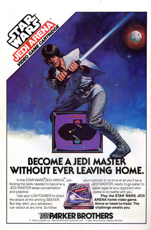 Before the Return of the Jedi premiere, Parker Brothers released Star Wars: Jedi Arena. In the game a blue Jedi fights against a red Jedi. The red one could be the computer or a second player. The Jedis have to defeat each other using laser blasts shot from a seeker ball. The players have to use the lightsaber to defend themselves. This is the TV commercial of the video game: