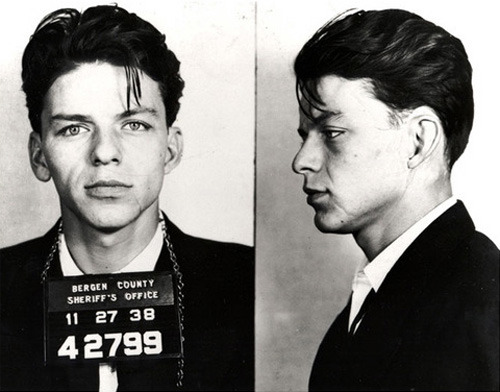 30 Movie Star Mugshots 13. Frank Sinatra The Alleged Crime: Aged 23, a married Sinatra was arrested in 1938 on charges of seduction and adultery. The charges were later dropped when it was discovered that the woman Sinatra was alleged to have had sex with was also married herself. Mugshot Chic? Now this is what we're talking about – Sinatra's suit and shirt combo are class through and through.
