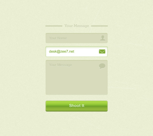 Green Contact Form (PSD) By Zulal Ahmad Download