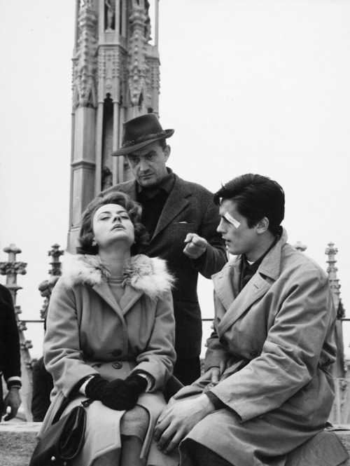 alaindelon:  On the set of Rocco e i suoi fratelli; with Luchino Visconti and Annie Girardot.