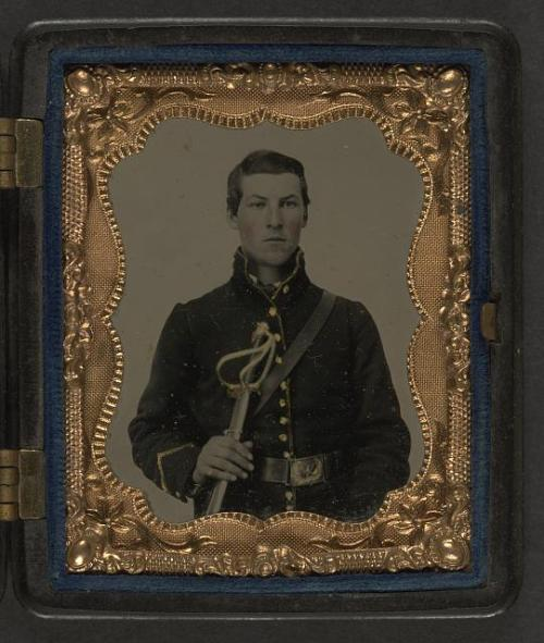rototudor:  lostsplendor:  Unidentified Union Solider, c. Civil War.  Source: Library of Congress  I can't see the insignia. Is this Jon's (several greats) Grandfather?  While a great photo, my guess is, based on the uniform, this man was in the cavalry, not the artillery like my great-great-grandfather. The sword is also probably cavalry.