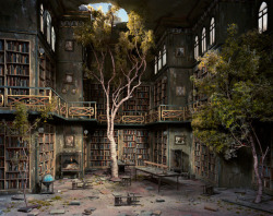 Library from a series called The City by Lori Nix