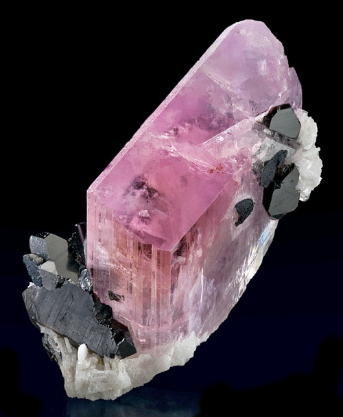 Kunzite-Triphane with Smoky Quartz and Schorl on Albite from Afghanistan