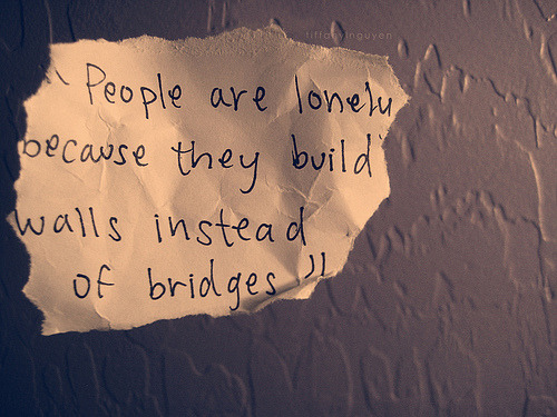 Yes? - People are lonely because they build walls instead of bridges. ericfeels:  People are lonely because they build walls instead of bridges.