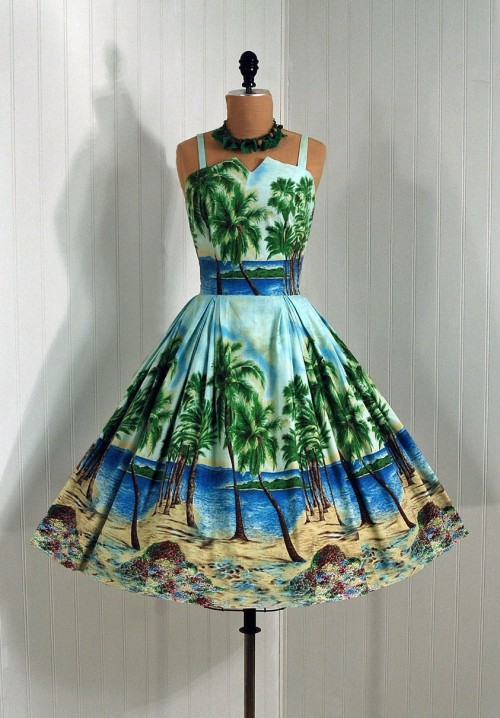 "1950's  ""Flair"" Hawaiian Cocktail Length Dress"