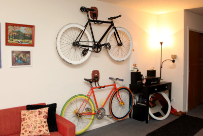 jessiebarber:  Check out our new DIY bike storage over on my other blog. We are pretty geeked out over this. All of the storage solutions online and at stores were just too ugly for us. We don't live in a garage, so we didn't want it to look like one!