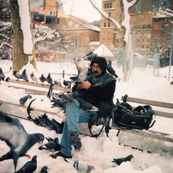 A picture I took of the Bird Man in Washington Square Park. I'm sure there is a great story here. Tech: Lomography Lubitel 166+ 35mm/Medium Format Twin Lens Reflex (TLR)