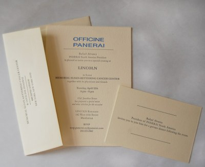 Freelance design job for Officine Panerai. Printed at Sesame Letterpress, Brooklyn, NY
