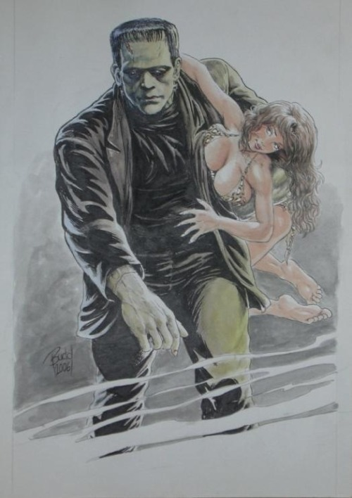 captainsblog1701:  Frankenstein by Budd Root greggorysshocktheater:  (via A Cavewoman Frankenstein Budd Root Prehistoric Pin-ups #5 splash page., in West Stephan's Budd Root- not for sale Comic Art Gallery Room)