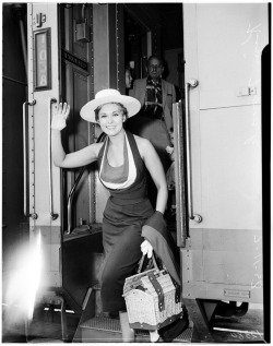 Kim Novak arrives in Los Angeles, 1958.