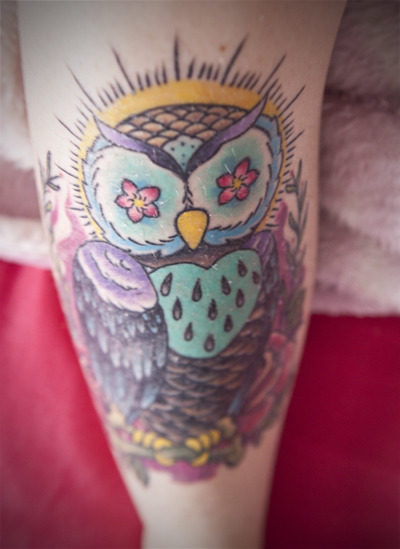 fuckyeahtattoos:  Newest tattoo on my leg. Love my owl so much. http://staytruesailor.tumblr.com/