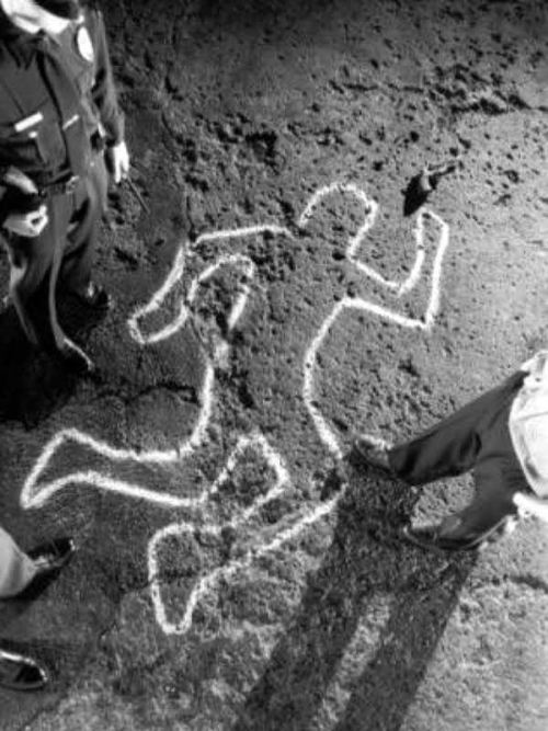 """Policeman Standing Alongside Chalk Outline"" by Mark Scott via User Request"