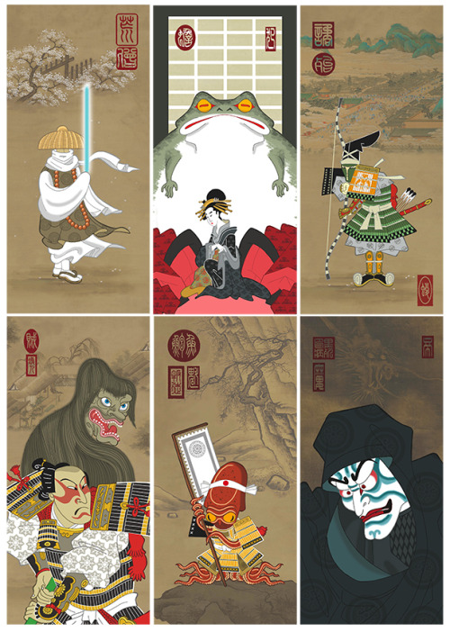 """Ninja  Star: Wars was the first art release ever by us here at Spoke  Art, long before the Bad Dads/Wes Anderson or Quentin vs. Coen art  shows.  Being of Japanese descent, and a major sci-fi fan/nerd, the  series  immediately called to me and as our inaugural release, became  the  foundation for which this company was built upon. The finances  raised  from this initial sale led to a lot of great art shows for Spoke  Art,  and I'd love to use these prints to now help others in need."" For  the next week, Spoke Art and illustrator Steve Bialik will be  offering complete matching number sets of six prints, with 100% of the  sales of these prints being donated directly to the Japan Earthquake and  Relief Fund – A Global  Giving Project. We have structured our  fundraiser on eBay, to ensure  that all the proceeds are automatically  donated directly to the  non-profit. More info via our blog - http://bit.ly/euqxme. Purchase these prints here - http://bit.ly/g9F6bg. Spoke Art needs your help in spreading the word on this fundraiser, we are donating 100% of the proceeds to Japan, so please reblog!!!"