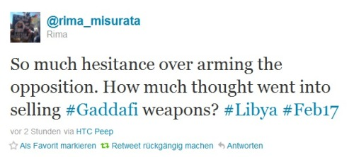"abudai:  protests4democracy:  And they have sold huge amounts of weapons to Gaddafi. Knowing that he is torturing his people, executing dissidents, that he has been involved in acts of terrorism abroad etc.  @rime_misurata  Exactly. As if the ""rebels"" serving freedom tea, guarding reporters & pumping up peace signs could be any worse. This is also why it angers me when people bring up the cost factor. Have enough humanity to wait until people aren't slaughtered by the minute. And if you can't do that, realize that these countries made millions of dollars selling Gaddafi the weapons he's using on his people - I'm sure that will cover the tab."