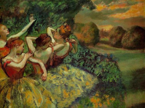 Edgar Degas (French, 1834 - 1917)Four Dancers, c. 1899Oil on canvas151.1 x 180.2 cmChester Dale Collection ___ While Degas suppressed descriptive detail elsewhere in the painting, emphatic dark lines shape the heads and arms, underlining the artist's formal concerns. Theatrical lighting over the off-stage performers recolors the figures and creates a simple color scheme of complementary red-orange and green hues. Nga.gov
