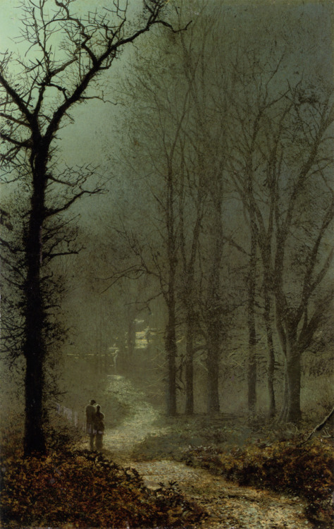 fuckyeahpreraphaelites:  Lovers in a Wood by MoonlightJohn Atkinson Grimshaw1873