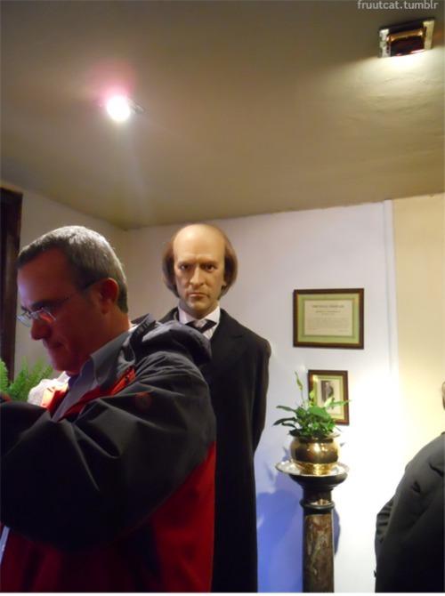at the Sherlock Holmes museum excuse me sir, there is a disconcerting man glaring at me from behind you, oh wait, shit IT'S MORIARTY SHIT OH GOD RUN