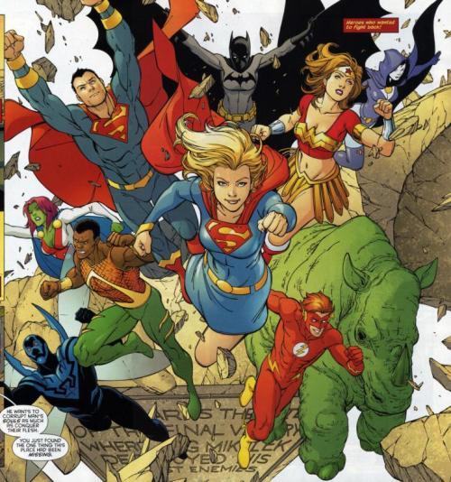 Red Robin 19 So I think this is Tim's imaginary future Justice League? KON HAS HIS YELLOW ARM BANDS BACK!! If only Bart had his googles, and you know, BROWN HAIR, then I'd love this to death. Cass as Batwoman! Jaime! BART IS NOT WALLY!! STOP DOING THAT DC!