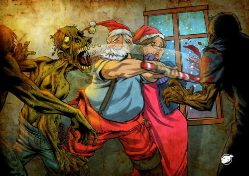 santa against zombies by *WakaBee on deviantART