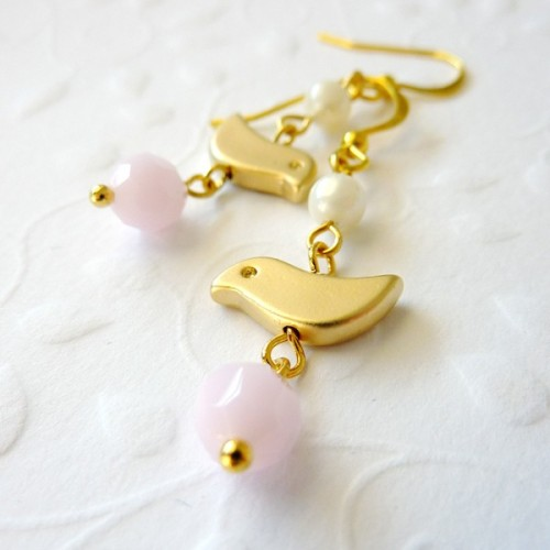 Mini Birds with Cream Pearls & Pink Swarovski Crystals Earrings via Katheyl