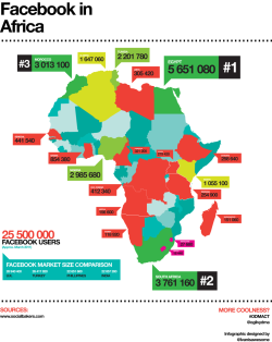 dumplingboy:  Comprehensive infographic of Facebook penetration on the African continent.