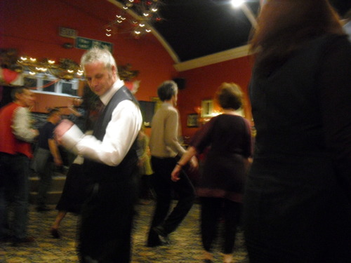 """The Dancing Master"", Playford's Ceri Rhys Matthews dancing with Julie Murphy at the Corelw Twmpath in Llandeilo"