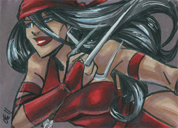 Elektra, one of my favorite ladies from Marvel outside of the X-Men. Sketchcard, 3.5x2.5 inches, ink & marker.