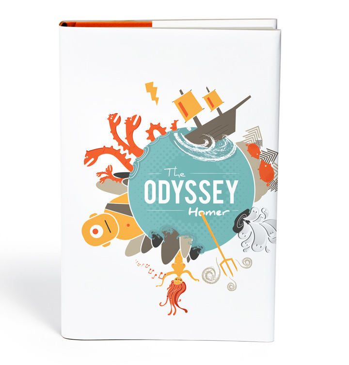 The Odyssey by Homer The Odyssey is one of my favorite stories because of the epic scale of adventure in it. So, for my cover, I decided I couldn't just pick one part of the adventure to illustrate and instead tried to give a sense of the plethora of bullshit Odysseus encounters, including my take on the Scylla, the whirlpool, Circe turning his men into pigs, visiting the underworld and talking to spirits, Poseidon's trident, a saucy siren, and a cyclops. I just wanted to give someone looking at the book the idea that they're in for an awesome adventure.