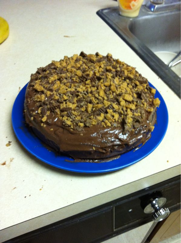 A chocolate cake topped with reeses :)