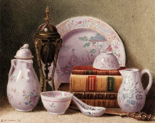 Benjamin Walter Spiers Still Life with Books and China 1876