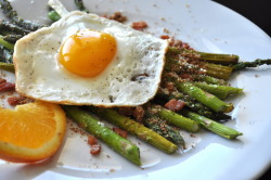 vneckandacardigan:  Fried Eggs with Asparagus, Pancette, and Bread Crumbs