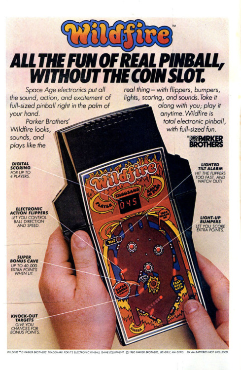 At the end of the 70's decade the handheld electronic games began to become popular. This is the 1980 advertisement of Wildfire, the electronic pinball released by Parker Brothers the year before.