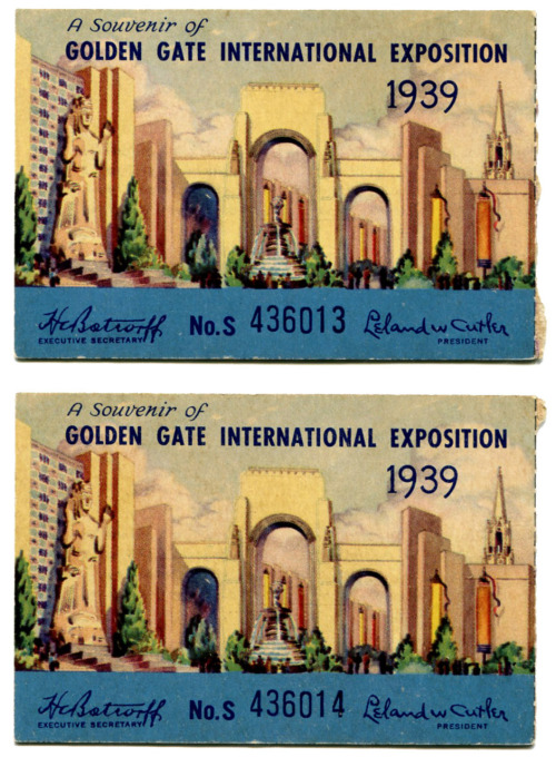 These tickets are from the 1939 Golden Gate International Exposition held in San Francisco on Treasure Island.  Treasure Island had always piqued my interest as I passed the exit while driving on the Oakland Bay Bridge.  Turns out that the island is manmade and was created specifically for this fair.  After the fair the island was to become the San Francisco airport and act as the hub for the Pan American China Clipper fleet along with being able to service other flying boats.  This was to happen after the fair closed in 1940.  The attack on Pearl Harbor changed all those plans and the island went to the Navy instead.  In the 90s the Navy left the island and now it has some businesses, film studios, and housing of various sorts. Anyway, the fair was held as a celebration of many things including the opening of the two most recent bridges, The Bay Bridge and of course The Golden Gate.  If you look on the ticket you can see a statue on the left, which was Pacifica.  She was over 80' tall and was supposed to be moved after the fair.  Like the airport idea, that changed with the war and she was demolished along with the other fair buildings.  (There is a group currently hoping to rebuild Pacifica on Treasure Island, and there is also an 8' tall replica on the College of San Francisco campus.)  One of the only remnants of the fair is the old terminal building, which is now apartments and a small museum dedicated to the event.  (The terminal is classic art deco and was used as a German airship terminal in the 3rd Indiana Jones film.)  Even though the expo was competing against the World's Fair in NYC it was hugely successful with many special travel packages and city wide events.  There was even a special train route created, the Exposition Flyer, between Chicago and Oakland.  According to the California Historical Society (via the Online Archive of California – an excellent resource) an estimated 17 million attended the expo and it was a huge economic boom to the region.  If interested, a color home movie of the expo can be seen here: http://www.youtube.com/watch?v=RTSgyD-mWrM
