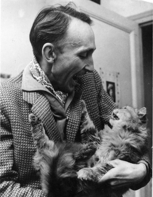 existential-ennui:  Film critic and theorist, André Bazin with a cat.