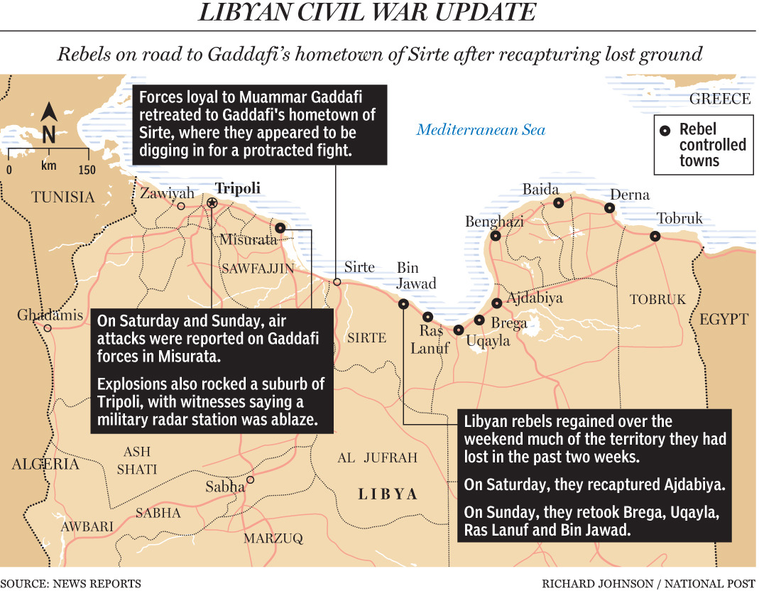 Libyan rebels advance on Gaddafi's hometownA rebel advance westwards towards Tripoli, which was halted Monday by Muammar Gaddafi's troops about 140 kilometres (85 miles) east of the strongman's hometown Sirte, resumed later in the day, an AFP reporter said.